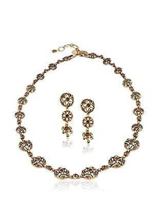 Shiny Cristal Set Collier und Ohrringe vergoldetes Metall 24 kt