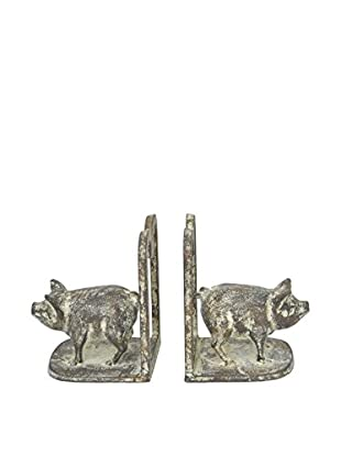 Three Hands Set of 2 Metal Pig Bookends