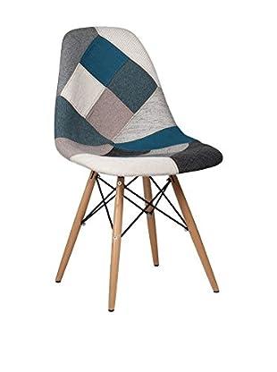 Lo+Demoda Stuhl Wooden Patchwork blau/grau
