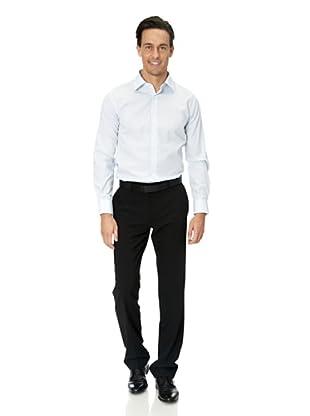 Vincenzo Boretti Baumwollhemd - Slim Fit, tailliert, kariert, bügelfrei (Weiß/Hellblau)