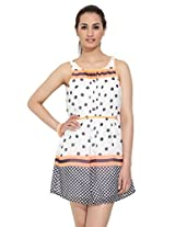 Deal Jeans Orange Printed Short Dress for Women - 12002CP-1-L