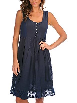 100% Lino Bleu Marine Kleid Aurelie