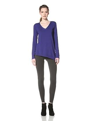 Central Park West Women's V-Neck Asymmetrical Sweater (Cobalt)