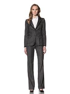 Loro Piana Women's Silk Pinstriped Blazer (Black)