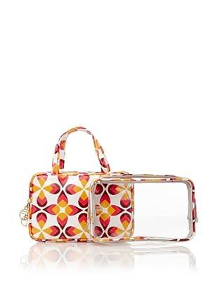 Trina Lillie 2-Piece Essential Weekender, White/Pink/Orange