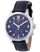 Tissot PRC 200 Chronograph Blue Dial Blue Leather Mens Watch T0554171604700