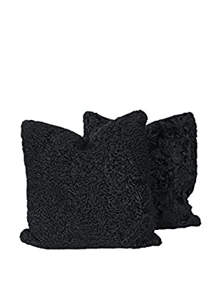 Set of 2 Black Persian Lamb Pillows, 20
