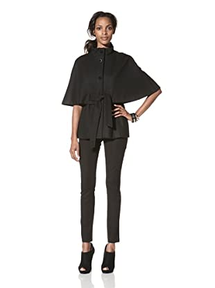 Betsey Johnson Women's Melton Wool Capelet (Black)
