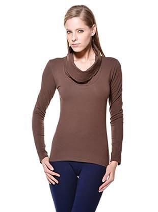 Cotonella Camiseta ML Cuello Drapeado (Chocolate)