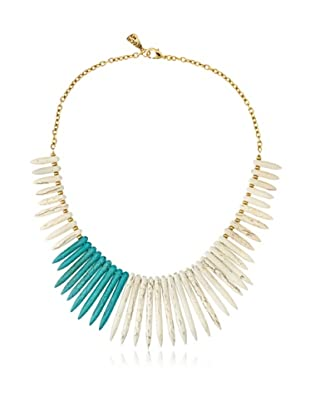 Yochi Blue/White Spiky Agate Necklace