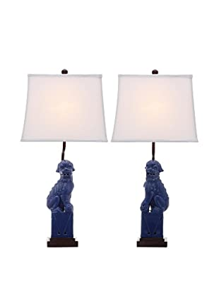 Safavieh Set of 2 Foo Dog Table Lamps, Navy