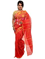 Multicolor Dhakai Jamdani Cotton Silk Saree with red as a base color (JOSR0000026, Red)