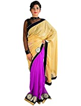 Kajal Women's Georgette Saree with Blouse Piece (Golden And Magenta)