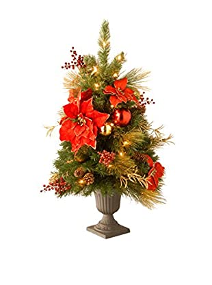 National Tree Company 3' Decorative Collection Home Spun Entrance Red & Gold Tree