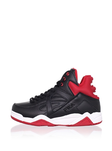 Fila Kid's The Cage Basketball Sneaker (Big Kid) (Black/Chinese Red/White)