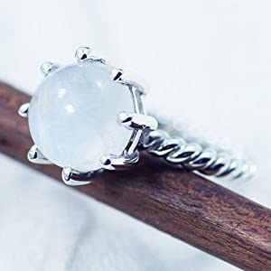 Sizzling Silver Ring With Moonstone Gemstone, Approx Gemstone Size 12-14Mm - Srng-7071