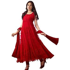 Whatshop Red Hot Designer Net Brasso Anarkali Suit