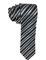 Geoffrey Beene Tie Charcoal Stripe One Size