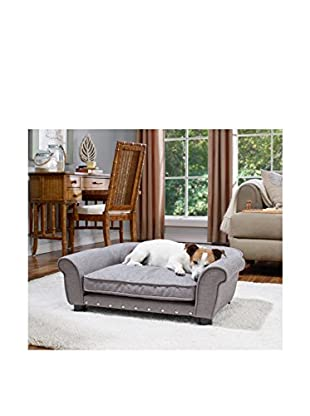 Enchanted Home Pet Brisbane Linen Tufted Pet Bed, Grey