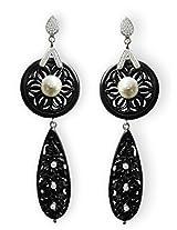 Aastha Jain Black Resin Carved Sterling Silver Earring For Women