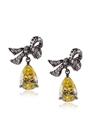 CZ by Kenneth Jay Lane Pave Bow Yellow Pear Drop Earrings