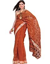Exotic India Amber-Brown Tangail Saree from Bengal with Woven Paisleys - Brown