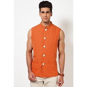 Linen Solid Orange Nehru Jacket By Even