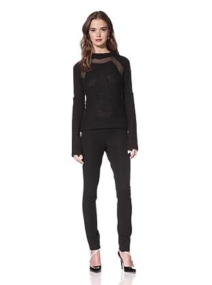 NINA RICCI Women's Long Sleeve Chiffon Panel Sweater (Black)