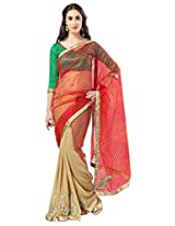 Admyrin Orange and Beige Saree with Green Dupioni Blouse Piece