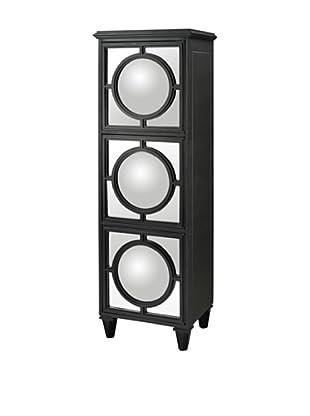 Artistic Convex Mirror Shelf Unit, Black