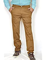 Routeen Men's Cotton Chino Trousers (Trkek9Ctrtlbrown14003-36 _Brown)