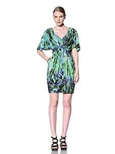 Muse Women's Bamboo Print Dress with Flutter Sleeve (Purple/Green)