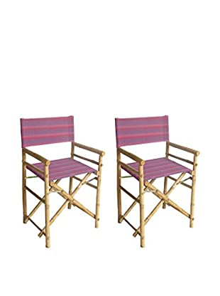 ZEW, Inc. Set of 2 Bamboo High Director Chairs, Navy Stripes