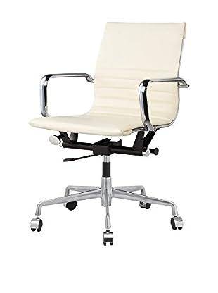 Meelano M348 Office Chair In Cream Vegan Leather