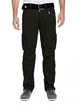 Timezone Herren Hosen Benitotz Cargo Pants Incl. Belt, Grün (Pirate Green 4211), W38/L34
