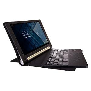 SUPERNIGHT Lenovo YOGA TABLET 8 B6000 ultra-thin Bluetooth Keyboard Portfolio Case - DETACHABLE Bluetooth Keyboard Stand Case Cover For Lenovo Yoga 8 B6000 Tablet.Color:Black