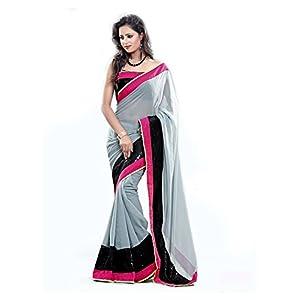 Janasya Georgette Saree(JND0188_Grey)