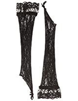Elegant Moments Women's Stretch Lace Gloves with Lace Trim, Black, One Size