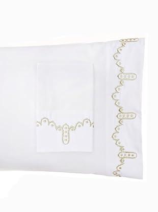 1891 by SFERRA Set of 2 Frou Frou Pillowcases (White/Sage)