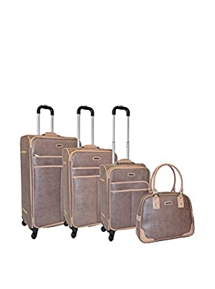 Adrienne Vittadini Woven 4-Pc Luggage Set, Taupe