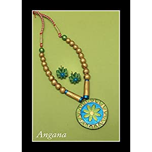 Angana Blue Green & Golden Combination Set jewellery Set