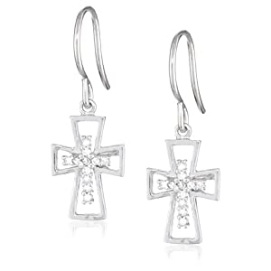 Sterling Silver Diamond Cross Earrings (1/10 Cttw, I Color, I3 Clarity)