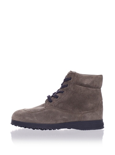 Hogan Kid's Suede Laced Ankle Boot (Cafe)