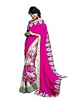 Laxmipati Women's Chiffon, Georgette Pink Floral Print saree -32480