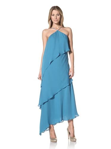 Halston Heritage Women's Asymmetrical Tiered Gown (Teal)