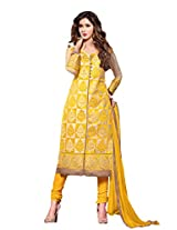 Suchi Fashion Embroidered Yellow & Beige Cotton Dress Material
