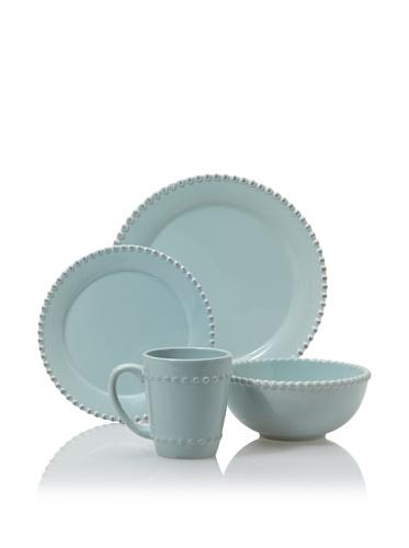 American Atelier Bianca Bead 16-Piece Dinnerware Set, Azul