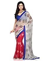 Utsav Fashion Women's Off White and Light Red Double Dye Faux Chiffon Saree with Blouse