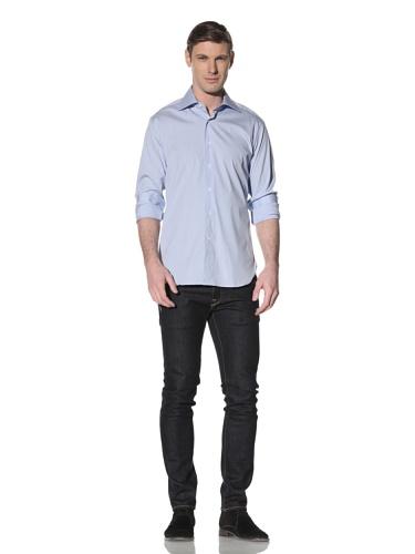 Orian Men's High Neck Spread Collar Regular Fit Dress Shirt (Blue)
