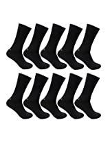 Bonjour Men's Black Odour free Plain Cotton 10 Pair Socks _BS201-PO10-Black